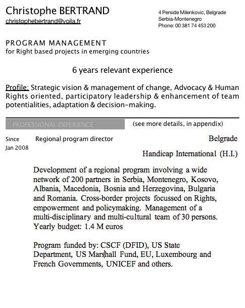 exemple de cv en anglais comment u00e9 pour un directeur de programmes humanitaires