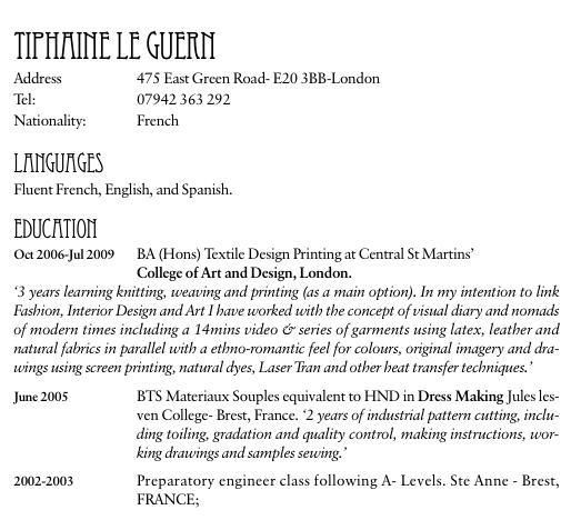 exemple de cv en anglais comment u00e9 pour un premier emploi  u00e0 vocation artistique