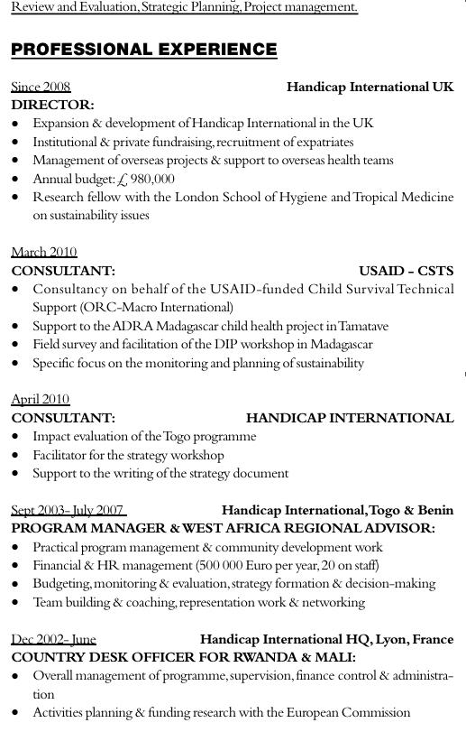 exemple de cv en anglais comment u00e9 pour un consultant dans l u2019humanitaire