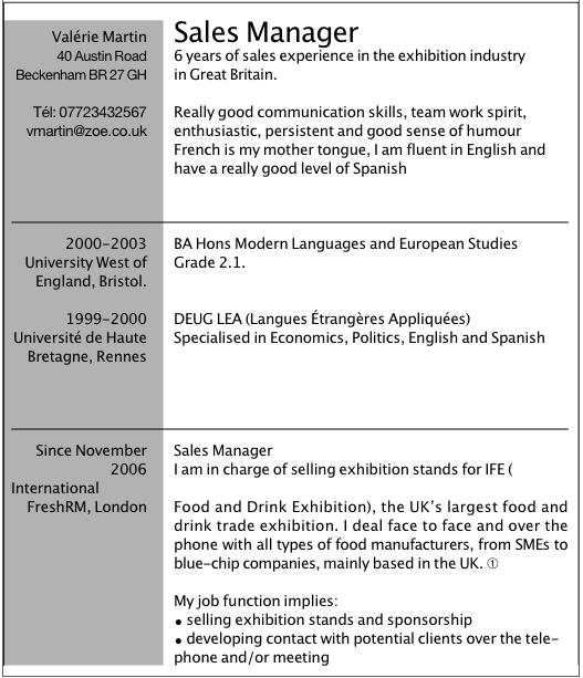exemple de cv en anglais pour travailler dans l u0026 39 organisation d u0026 39  u00e9v u00e9nements