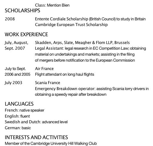 Exemple de CV en anglais commenté pour un premier emploi dans le