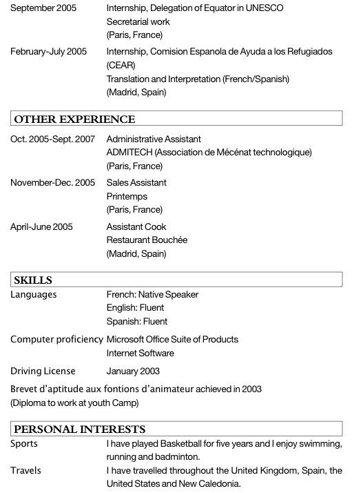 exemple de cv stage etudiant exemple cv etudiant stage   CV Anonyme exemple de cv stage etudiant