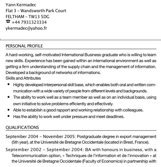 Exemple de CV logisticien