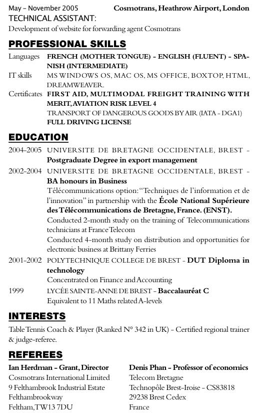 emploi exemple cv anglais consultant