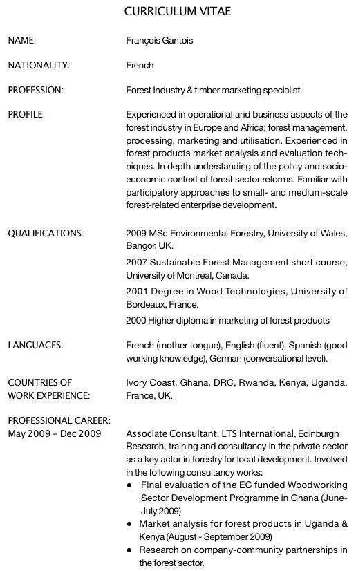 exemple de cv en anglais comment u00e9 pour un premier emploi dans l u2019industrie foresti u00e8re