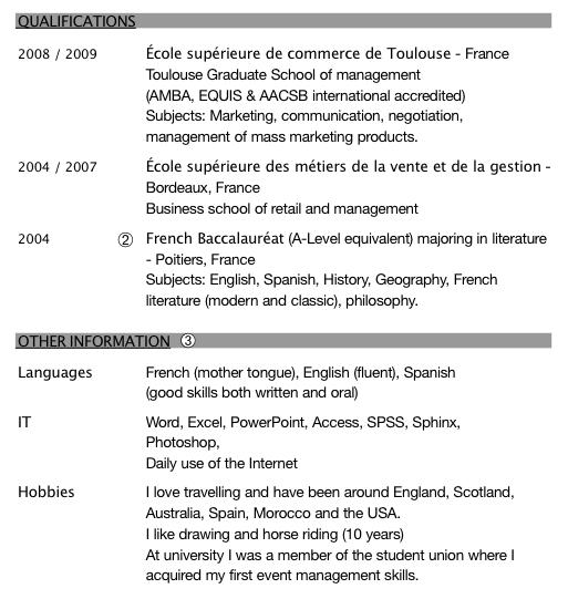 exemples de cv en anglais comment u00e9s pour postuler  u00e0 un