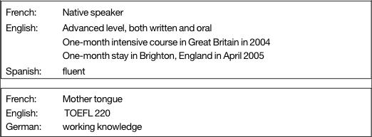 resume format  pr u00e9sentation cv oral anglais