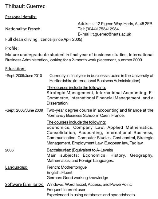 CV en anglais commenté : exemple de CV pour un stage ou un job d