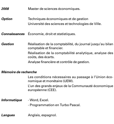 exemple cv detaille