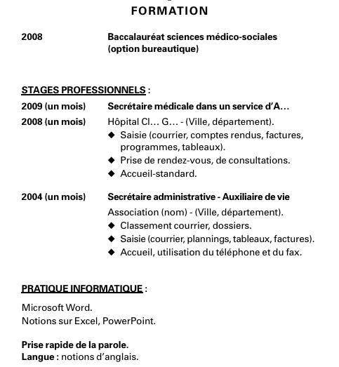 exemples de cv   placer ses stages dans la section