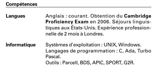 cv   regrouper les langues et l u2019informatique dans une seule rubrique