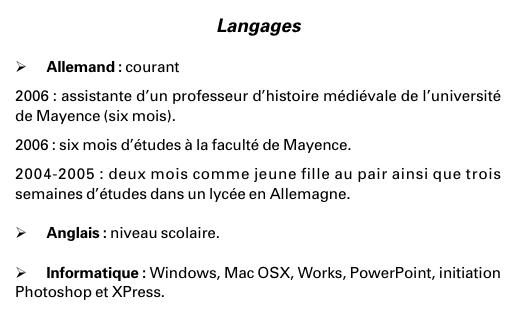 exemple cv rubrique langues