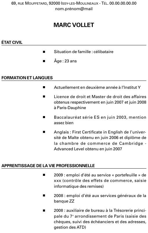 modele cv post bac Comment Faire Un Cv Post Bac | sprookjesgrot modele cv post bac