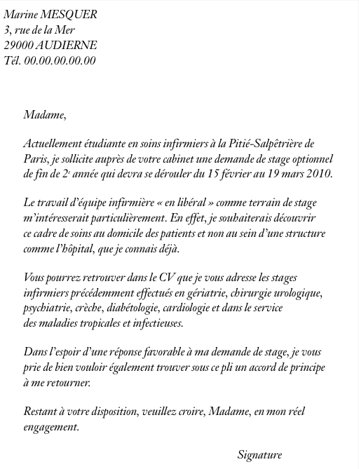 cover letter example  exemple de lettre de motivation pour un stage veterinaire