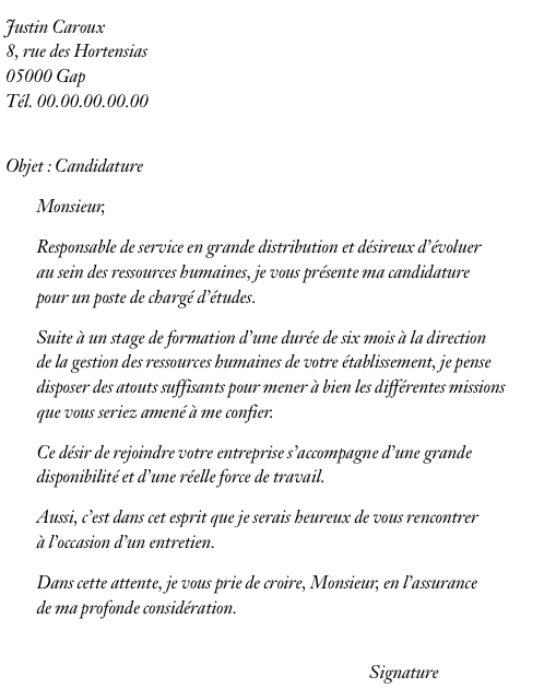exemple lettre de motivation 1er emploi