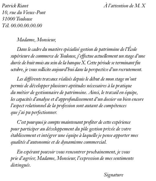 exemple de lettre de motivation pour un premier emploi de gestionnaire de patrimoine