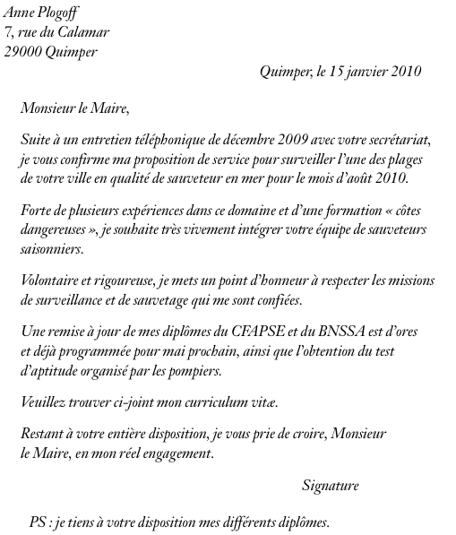 exemple de lettre de motivation pour un job d u2019 u00e9t u00e9