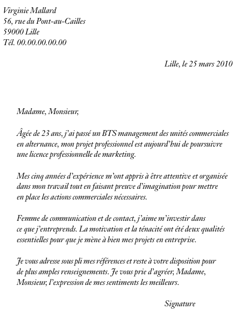 Lettre de motivation école de commerce alternance   Post Bac