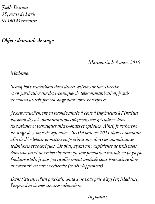 mod u00e8le lettre de motivation stage bac pro