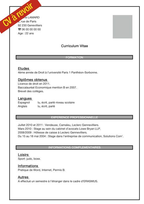 exemple cv job d u0026 39 ete