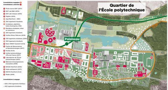 Les plans de l'installation de Télécom ParisTech à Saclay