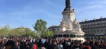 Manifestation place de la République, au lendemain du premier tour de l'élection présidentielle, le 24avril 2017. //©Catherine de Coppet