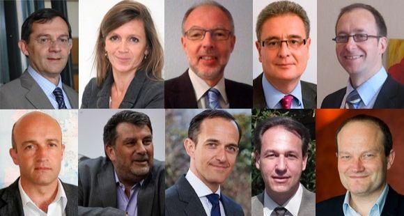 V. Hoffmann-Martinot (Bordeaux), C. Braconnier (Saint-Germain en Laye), G. Eckert (Strasbourg), R. Mehdi (Aix), P. Raimbault (Toulouse), P. Le FLoch (Rennes), V. Michelot (Lyon), F. Mion (Paris), J-C. Froment (Grenoble) et B. Lengaigne (Lille) //©Photos fournies par les établissements