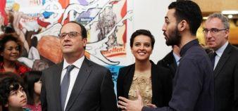 François Hollande et Najat Vallaud-Belkacem ont lancé la Semaine d'éducation contre le racisme et l'antisémitisme au musée de l'Histoire de l'immigration, lundi 21 mars. La moitié des universités ont aujourd'hui un référent sur le sujet. //©HAYTHAM/REA