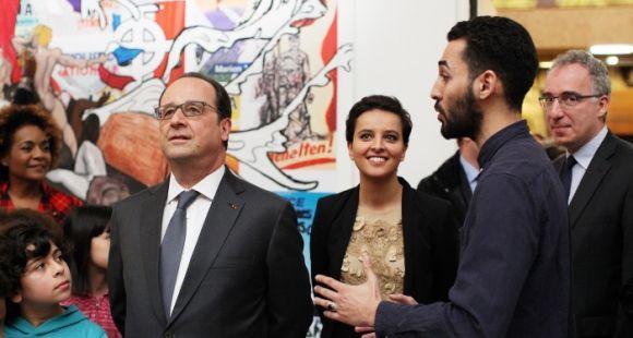 François Hollande et Najat Vallaud-Belkacem ont lancé la Semaine d'éducation contre le racisme et l'antisémitisme au musée de l'Histoire de l'immigration, lundi 21 mars. La moitié des universités ont aujourd'hui un référent sur le sujet.