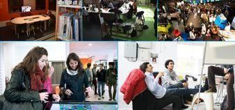 Universités : cinq lieux qui boostent la vie de campus, à Arras,  Saint-Etienne, La Rochelle, Montpellier et Saclay. //©Université d'Artois / Gaëlle Dechamp - UdL / C.Benguigui / UM - David Richard / Hugo Noulin.