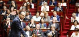 Le Premier ministre, Édouard Philippe, devant l'Assemblée nationale, lors de son discours de politique générale, mardi 4 juillet 2017. //©Denis Allard/REA