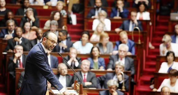 Le Premier ministre, Édouard Philippe, devant l'Assemblée nationale, lors de son discours de politique générale, mardi 4 juillet 2017.