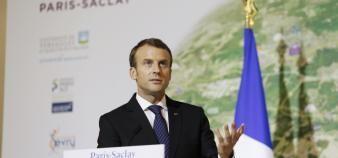 Emmanuel Macron expose sa vision de Paris-Saclay, mercredi 25 octobre 2017. //©Denis Allard / R.E.A