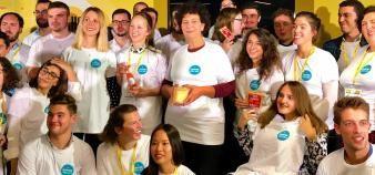 Frédérique Vidal le 10 octobre 2019 avec les étudiants-entrepreneurs lauréats des prix Pepite //©Etienne Gless