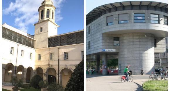 Les universités de Montpellier (à gauche) et de Lyon 1 (à droite).