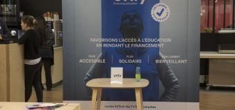 Le stand d'Unly lors du EdJobTech Day organisé par l'EM Lyon le 28 novembre 2018. //©Erwan Lemarie pour Educpros