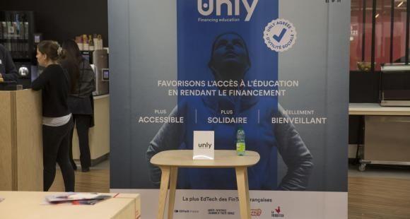 Le stand d'Unly lors du EdJobTech Day organisé par l'EM Lyon le 28 novembre 2018.