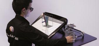 Conçu par le laboratoire Virtualiteach, le dispositif V-Station avec écran en 3D permet aux élèves d'explorer des notions de physique. //©Clarte