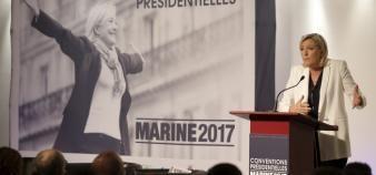 """La première """"convention présidentielle"""" de Marine Le Pen, jeudi 22 septembre 2016, a été consacrée à l'école et à l'enseignement supérieur. //©Nicolas Tavernier/REA"""