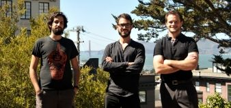 French-born Julien Barbier, Sylvain Kalache and Rudy Rigot (from left to right) left their jobs at Docker, LinkedIn and Apple to found Holberton School. // © JG