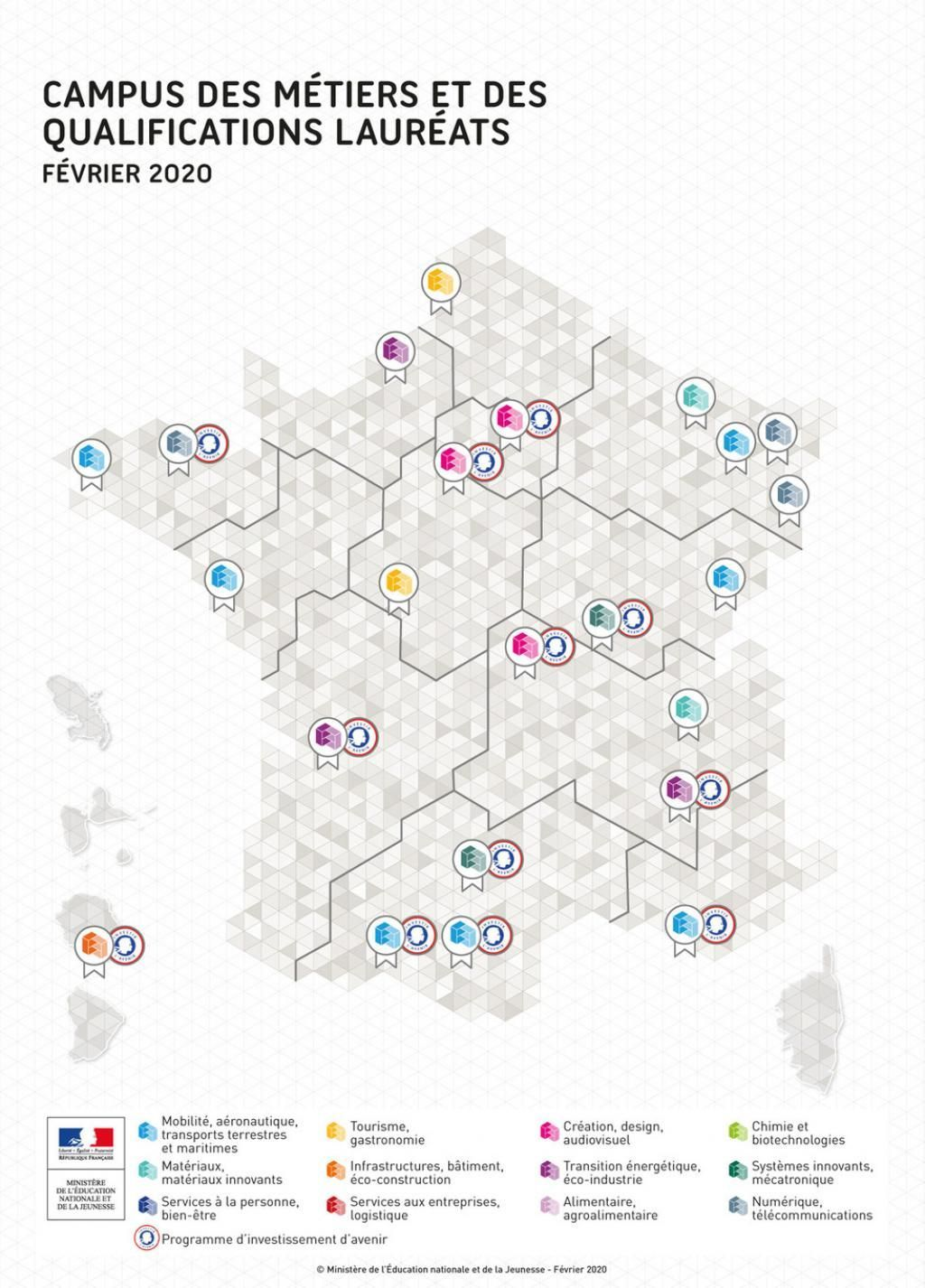 La carte des 23 premiers lauréats des campus des métiers et des qualifications d'excellence à février 2020. //©Ministère de l'Education nationale et de la Jeunesse