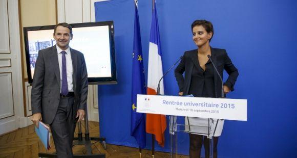 Thierry Mandon et Najat Vallaud-Belkacem ont détaillé les chantiers à venir sans préciser les moyens dont ils disposeront, lors de la conférence de rentrée universitaire, mercredi 16 septembre 2015.