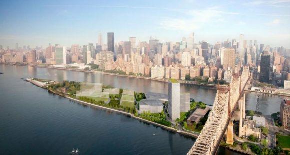 """""""Silicon Island"""", image de synthèse du projet de campus qui sera construit à la pointe de Roosevelt Island à New York"""