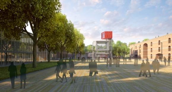"""Le projet de Renzo Piano avec, au milieu de la place d'Armes, le """"signal"""" qui indiquera le site dans la ville d'Amiens et dont la vue sera orientée vers la cathédrale. © Renzo Piano Building Workshop-Amiens Métropole"""