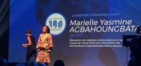 Doctorante en chimie à l'Université d'Abomey-Calavi, Marielle Yasmine Agbahoungbata a remporté le premier prix de la finale internationale de MT180. //©Aurore Abdoul-Maninroudine