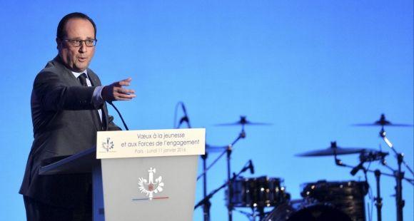 François Hollande, le 11 janvier 2016 lors des voeux à la jeunesse