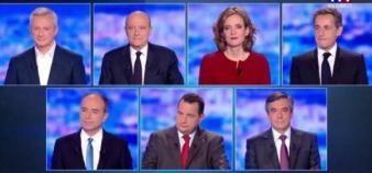 Pendant le premier débat de la primaire de la droite et du centre, le 14 octobre 2016, les sept participants n'ont pas débattu de l'éducation ou de l'enseignement supérieur. //©TF1/Capture d'écran