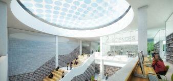 Hall central du projet Lilliad. Le nouveau learning center de l'université Lille 1 doit ouvrir à la rentrée 2016. //©Auer Weber Vise