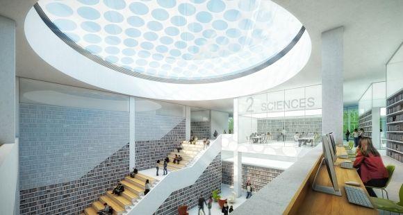 Hall central du projet Lilliad. Le nouveau learning center de l'université Lille 1 doit ouvrir à la rentrée 2016.