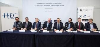 Jeudi 21 février 2019, HEC Paris et les cinq écoles fondatrices de l'Institut Polytechnique de Paris ont officialisé leur coopération. //©École polytechnique – J.Barande.